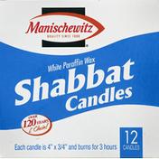 Manischewitz White Paraffin Wax Shabbat Candles