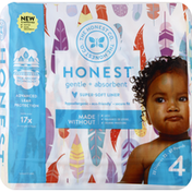 The Honest Company Diapers, Size 4 (22-37 Pounds), Painted Feathers