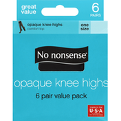 No nonsense Knee Highs, Comfort Top, Opaque, One Size, Black, 6 Pair Value Pack