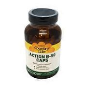 Country Life Action B-50 Caps Balanced B Complex Supports Energy, High Potency Dose Dietary Supplement Vegan Capsules