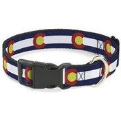 "Buckle-Down 1"" Medium Repeat Colorado Flags Plastic Clip Collar"