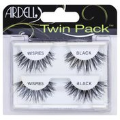 Ardell Lashes, Wispies, Black, Twin Pack