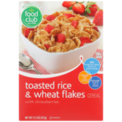 Food Club Toasted Rice & Wheat Flakes Cereal With Strawberries