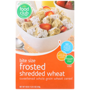 Food Club Frosted Shredded Wheat Bite Size Sweetened Whole Grain Wheat Cereal
