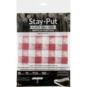 Creative Converting Stay-put Table Cover, Plastic, Red Gingham, Bag