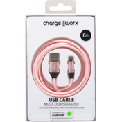 Chargeworx USB Cable, Micro USB Connector, 6 Feet