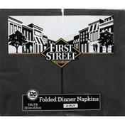 First Street Napkins, Dinner, Folded, Black Velvet, 2-Ply