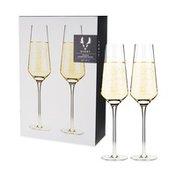 Viski Angled Crystal Champagne Flutes