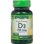 Nature's Truth Vitamin D3, High Potency, 250 mcg, Softgels