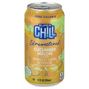 Super Chill Sparkling Water Beverage, Unsweetened, Cucumber Melon Flavored