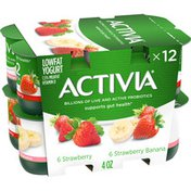 Activia Probiotic Strawberry & Strawberry Banana Variety Pack Yogurt