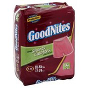 GoodNites Sleep Shorts, Girls, S-M (38-65 lbs), Jumbo
