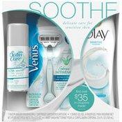 Gillette Venus Soothe 3-Piece Gentle Skin Set With Olay, Satin Care and Venus  Fem Premium BladeRazor System
