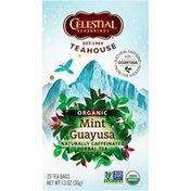 Celestial Seasonings Teahouse Organic Mint Guayusa Naturally Caffeinated Herbal Tea Bags