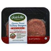 Plainville Farms Turkey Burgers, 94% Lean/6% Fat, Quarter Pound