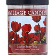 Village Candle Candle, Glass Cylinder, Scarlet Berry Tulip