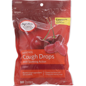 Signature Care Cough Drops, with Soothing Action, Cherry, Menthol