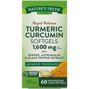 Nature's Truth Turmeric Curcumin, 1600 mg, Rapid Release Liquid Softgels