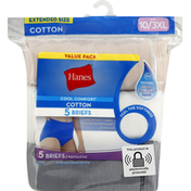Hanes Briefs, Cotton, Extended Size, Size 10/3XL, Value Pack