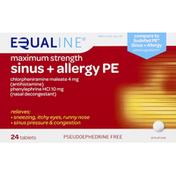 Equaline Sinus + Allergy PE, Maximum Strength, Tablets