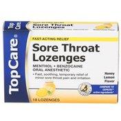 TopCare Fast-acting Relief Sore Throat Lozenges, Honey Lemon Flavor
