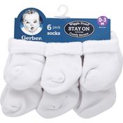 Gerber Socks, 0-3 Months, 6 Pack