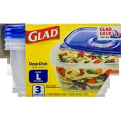 Glad Containers & Lids, Deep Dish, Large Rectangle, 8 Cups
