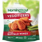 Morning Star Farms Meatless Chicken Wings, Plant Based Protein Vegan Meat, Frozen Meal, Buffalo