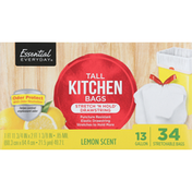 Essential Everyday Tall Kitchen Bags, Stretch 'N Hold Drawstring, Lemon Scent, 13 Gallon