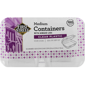 First Street Containers with Hinged Lids, Clear Plastic, Medium