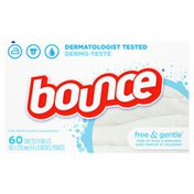 Bounce Free & Gentle Unscented Fabric Softener Dryer Sheets for Sensitive Skin