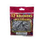"Wintex 12"" Round Metallic Silver Balloons"