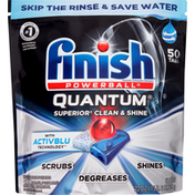 Finish Automatic Dishwasher Detergent, Quantum, With Activblu Technology, Tabs