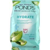 Ponds Micellar Wipes, Vitamin, Aloe Vera + Vit B3, Hydrate