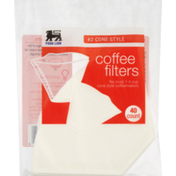 Food Lion Coffee Filters, No.2 Cone Style, Bag