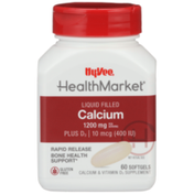 Hy-Vee Healthmarket, Calcium 1200 Mg Plus D3 | 10 Mcg (400 Iu) Bone Health Support Calcium & Vitamin D3 Supplement Rapid Release Liquid Filled Softgels