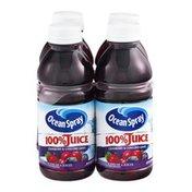 Ocean Spray 100% Juice Cranberry & Concord Grape - 4 CT