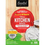 Essential Everyday Tall Kitchen Bags, SuperFlex, with Elastic Stretch 'n Hold Drawstring, Odor Protect