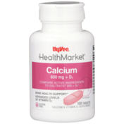 Hy-Vee Healthmarket, Calcium 600 Mg + D3 Bone Health Support Calcium & Vitamin D3 Supplement Tablets