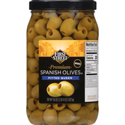First Street Spanish Olives, Premium, Pitted Queen