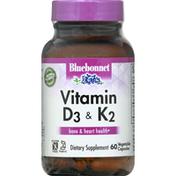 Bluebonnet Vitamin D3 & K2, Vegetable Capsules