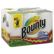 Bounty Paper Towels, 2-Ply, 2X More Absorbent, 6 Big Rolls, Wrapper