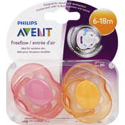 Avent Pacifiers, FreeFlow, 6-18 Months