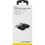 Scosche Adapter, USB-A to USB-C, Black, 2-Pack