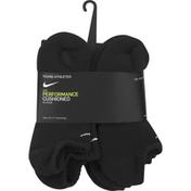 Nike Youth Performance Cushioned No-Show Training Socks – 6 Pack - M - Black/White
