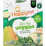 Happy Tot Organics Stage 4 Zucchinis, Pears, Chickpeas & Kale Veggie & Fruit Blend
