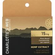 Charlotte's Web Hemp Extract, 15 mg, Liquid Capsules
