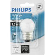 Philips Light Bulb, Night Light, White, 7.5 Watts