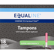 Equaline Tampons, Compact Plastic Applicator, Super Absorbency, Unscented