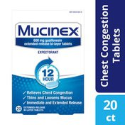 Mucinex® Expectorant 12 Hour Extended Release Tablets, 600 mg Guaifenesin